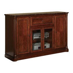 Legends Furniture - Monte Carlo 60 in. TV Console - 1 in. thick marble top. Two wooden doors. Two glass doors. One pullout drawer. Clear glass panel. Provision for cable management. Limited lifetime warranty. Made from solid poplar, PB, MDF with birch veneer. Hazelnut finish. Overall: 60 in. W x 20 in. D x 36 in. H. Assembly Instructions
