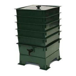 """The Worm Factory - Compost Bin: The Worm Factory 5-Tray Recycled Plastic Worm Composter - Green - Shop for Garden Equipment from Hayneedle.com! What is The Worm Factory 5-Tray Recycled Plastic Worm Composter - Green and how does it work?This green 5-tray worm composter is a multi-tray compost system that helps manage the composting process and provides you with nutrient-rich compost for your garden. It's easy to set up and simple to use. Fill each stacking tray with kitchen scraps such as newspaper junk mail vegetables fruits egg shells coffee grounds paper and cardboard into nutrient-rich compost for your garden. Most """"Master Gardeners"""" consider worm castings to be the very best compost available. Your plants will thrive with this all-natural compost. Sorting out the undigested scraps can be a messy inconvenient chore with ordinary worm composters. Worms start in the bottom tray and migrate upward as they break down the waste. This allows worms to separate themselves from the finished compost making it easy to add nutrient-rich fertilizer to plants and gardens without sorting worms. Additionally nutrient-rich moisture is captured in the collection tray and can be drained as liquid fertilizer known as """"worm tea"""".What are the benefits of using The Worm Factory?The Worm Factory is Compact:With its square design and having the smallest footprint of all the worm composters The Worm Factory 4-Tray Worm Composter - Green works great for anyone with space requirements. The Worm Factory uses a tray stacking system which allows it to hold the largest capacity of compost in the smallest amount of space.The Worm Factory is Odorless:The ventilation lid allows proper air flow and the instruction manual helps you manage The Worm Factory correctly to prevent odor. This means that it can be used year round and can be housed anywhere including apartments kitchens garages porches etc.The Worm Factory is Easy to Manage:The 16-page instruction manual makes the setup process fast and ea"""