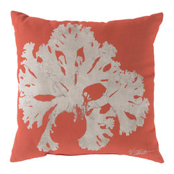 """Surya - Coral Square Decorative Pillow RG-052 - 20"""" x 20"""" - Enjoy a tranquil reminder of the beach in your space with this cool coral pillow. Featuring a bold beige coral design splashed pristinely against a stunning coral backdrop, this piece is sure to spice up your space. This pillow contains a Virgin Poly Styrene Bead fill providing a reliable and affordable solution to updating your indoor or outdoor decor."""