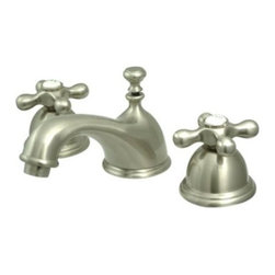 """Kingston Brass - Two Handle 8"""" to 16"""" Widespread Lavatory Faucet with Brass Pop-up KS3968AX - Two Handle Deck Mount, 3 Hole Sink Application, 8"""" to 16"""" Mini-Widespread, Fabricated from solid brass material for durability and reliability, Premium color finish resists tarnishing and corrosion, 1/4 turn On/Off water control mechanism, 1/2"""" IPS male threaded shank inlets, Ceramic disc cartridge, 2.2 GPM (8.3 LPM) Max at 60 PSI, Integrated removable aerator, 6-1/2"""" spout reach from faucet body, 3-1/2"""" overall height.. Manufacturer: Kingston Brass. Model: KS3968AX. UPC: 663370006098. Product Name: Two Handle 8"""" to 16"""" Widespread Lavatory Faucet with Brass Pop-up. Collection / Series: Restoration. Finish: Satin Nickel. Theme: Classic. Material: Brass. Type: Faucet. Features: Drip-free ceramic cartridge system"""