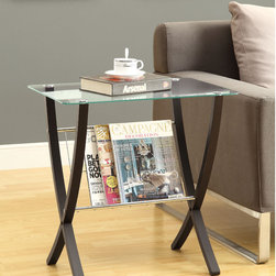 Monarch - Cappuccino Bentwood Magazine Table with Tempered Glass - Decorate your home with this modern magazine table. This classy end table is made of bentwood, wire, and glass and features a cappuccino finish and tempered glass top. Use the wire rack to store your magazine and the top for decorative items.