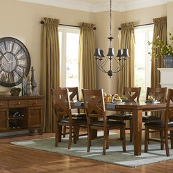 Homelegance - Homelegance Silverton Dining Table in Warm Brown Cherry - A perfect fit in your casual dining room  the Silverton Collection will provide you with the transitional styling that you wish for your home. The cherry veneer pattern is highlighted by a warm brown cherry finish that is carried over to the coordinating server and side chairs. Each of the chairs has an X-back design with dark brown bi-cast vinyl seating.
