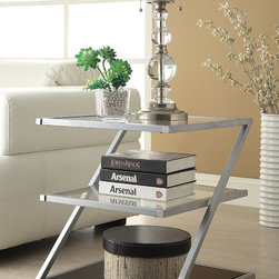 None - Silver-finished Glass 3-tier End Table - This versatile piece can be used as an end table, lamp table, decorative displays table, or simply as an accent pieces. Space-saving, functional, and attractive, this table is a perfect addition to your bedroom or living room.