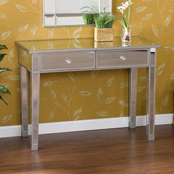 Wildon Home � - Hamilton Console Table - Perfect for any room, this glamorous mirrored console table is a perfect complement for your home. With its mirrored finish, it adapts to any surroundings without overpowering yet, catches your eye with its unique presence. The practical size and function works as well in the living room as it does in the bedroom. Finishing the piece off are two drawers with faux crystal knobs. Features: -Console table.-Silver painted wood trim.-Two drawers.-Faux crystal knobs.-Mirrored finish.-Distressed: No.Dimensions: -Overall Product Weight: 61 lbs.