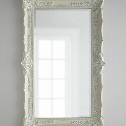 """Horchow - Antique White Mirror - Add just the right touch to your French Country decor with this expansive wall mirror. Rectangular mirror has a beveled edge and is held within a resin frame with plenty of interesting details—all in an """"Antique White"""" finish. 42""""W x 5""""D x 67.5""""T....."""