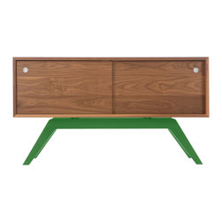 Eastvold Furniture - Elko Credenza Small, Walnut, Green Base - It might look like a prized midcentury collectible, but this credenza is custom-crafted in Minnesota in your choice of base colors. Reinforced mitered joints allow the walnut grain to wrap the exterior in a continuous sweep, while adjustable shelves and wire chases inside offer flexible storage for the den, dining room or office.