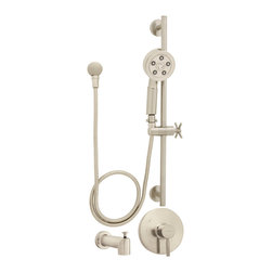 Speakman - Speakman Neo Shower and Diverter Tub Package with ADA Hand Shower Brushed Nickel - Showcasing all the luxury of Speakman's legacy of hotel offerings, the Neo ADA Hand Shower and Tub Package combines functionality with a sleek, bold look to complete a wall mounted shower system. Bringing forth a modern design of smooth detailing and sharp edges, this shower set features a Neo modern hand shower with ADA compliant pause/trickle adapter and shower elbow, Neo shower valve, 24 inch slide bar, and diverter tub spout. With patented Speakman Anystream 360 degree technology, the showerhead allows the user to easily transition through 360 degrees of full-flood needling spray, central pulsating massage, or a combination of both with a simple rotation of the faceplate. Connecting the base of the hand shower to the shower hose is an ADA compliant pause/trickle adapter, which permits the water source to be turned on or off for ease of operation for those with physical handicaps. The wall mounted shower elbow sources water directly to the handshower positioned on the 24 inch slide bar. This adjustable attachment provides added support and customization of the height of the hand shower. The diverter tub spout allows an easy switch between tub and shower use, and the Neo anti-scald pressure balance shower valve maintains a consistent water temperature while in use.