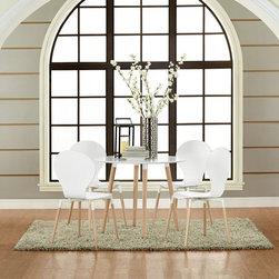Path Dining Chairs and Circular Table Set of 5 in White (EEI-1376-WHI) - Find your center of balance in the circular path of life. Path's simple fluid lines subtly generate a powerful statement. Sit down, breathe deeply on the fiberboard frame and solid beech wood legs, and let the conversations and ideas begin to flow. Set Includes: Four - Path Dining Chairs One - Path Circular Table