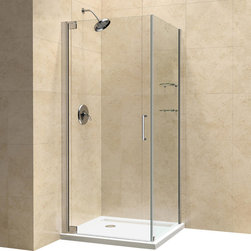 "DreamLine - DreamLine Elegance 30"" by 34"" Frameless Pivot Shower Enclosure - The Elegance shower enclosure combines clean minimal styling with exceptional quality. Opulent 3/8 in. thick tempered glass and a fluid frameless design create a prefect mix of strength and beauty. The corner installation maximizes space and becomes the heart of a bathroom design, while minimal hardware generates an open and airy appeal.  30 in. D x 34 in. W x 72 in. H ,  3/8 (10 mm) thick clear tempered glass,  Chrome or Brushed Nickel hardware finish,  Frameless glass design,  Out-of-plumb installation adjustability: Up to 1 in. per side,  Frameless glass pivot shower enclosure design,  Elegant solid brass pivot mechanism and anodized aluminum wall profiles,  Door opening: 28 in.,  Return panel: 30 in.,  Reversible for right or left door opening installation,  Material: Tempered Glass, Aluminum, Brass,  Tempered glass ANSI certified,  Plumbing codes vary by state; DreamLine is not responsible for code complianceNote: To minimize possible leakage, install shower head opposite of the shower opening pointed toward tiled walls, fixed panels or directly down the floorProduct Warranty:,  Limited 5 (five) year manufacturer warranty"