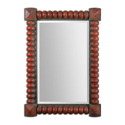 """Uttermost - Uttermost Clancy Rust Red Mirror 13869 - Heavily distressed, carved wood frame with a rust red finish accented with rust bronze details. Mirror has a generous 1 1/4"""" bevel. May be hung horizontal or vertical."""