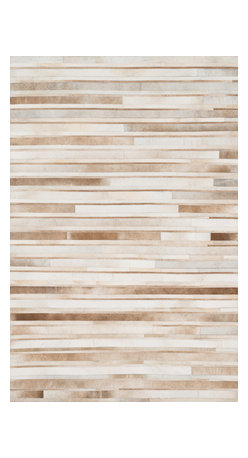 "Loloi Rugs - Loloi Rugs Promenade Collection - Sand, 3'-6"" x 5'-6"" - Hand stitched in India of 100% authentic cowhide, Promenade is a contemporary version of the timeless cowhide rug. The modern collection offers patterns that range in graphic designs with a strong contrast of light and dark hides. And the durable cowhide fiber makes Promenade ideal for your most frequented rooms."