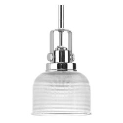 Progress Lighting - Progress Lighting P5173-15 One-Light Mini-Pendant With Double Prismatic Glass Sh - One-light mini-pendant with finely crafted strap and knob details and double prismatic glass.