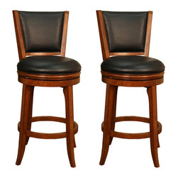 American Heritage - American Heritage Peyton Bar Stool in Suede with Black Vinyl (Set of 2) - Distinctive good looks and maximum comfort make this easy going stool adaptable in any rooms design. Offered in a rich suede finish with a cushion wrapped in black vinyl makes this stool versatile for years to come.