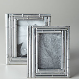 "Arthur Court - Arthur Court 5"" x 7"" Layered Bamboo Frame - Crafted to resemble layers of bamboo, these frames add exotic allure to favorite photos. Made of zinc with a nickel finish, 4"" x 6"" frame, 7""W x 9.25""T. 5"" x 7"" frame, 9""W x 7""T. Imported."