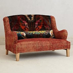 "Anthropologie - Silk Knotted Settee - Includes bolster pillowNatural finishWebbed seat constructionVintage wool, silk upholsteryMango wood frame; polyfillSpot clean36""H, 48""W, 31""DSeat: 15""HHandmade in USA"
