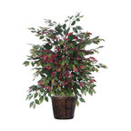 Vickerman - 4' Capensia Extra Full - 4' Capensia Extra Full Bush on three or more Dragonwood trunks. Dark brown Rattan container. American made excelsior