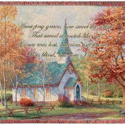 Manual - Thomas Kinkade Aspen Chapel Tapestry Throw Blanket 50 Inch x 60 Inch - This multicolored woven tapestry throw blanket is a wonderful addition to any home. Made of cotton, the blanket measures 50 inches wide, 60 inches long, and has approximately 1 1/2 inches of fringe around the border. The blanket features a depiction of Thomas Kinkade's 'Aspen Chapel', along with the first verse from 'Amazing Grace'. Care instructions are to machine wash in cold water on a delicate cycle, tumble dry on low heat, wash with dark colors separately, and do not bleach. This comfy blanket makes a great gift for friends and family.