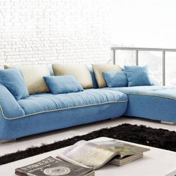 Keon Blue Sectional - With a refreshing blue fabric upholstered finish, and soft padded seat cushions, this Keon Sectional Sofa will be a welcomed addition to your living room furniture collection.