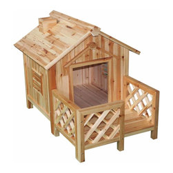 Renovators Supply - Doghouses Natural Asian Fir Dog House Medium - Dog House: The dog days of summer need not be so unbearable for your pet with our beautifully crafted line of Dog Homes. Tails will wag when you provide safety, comfort & shelter from the elements for your canine companion. Cleverly crafted with window openings, these doghouses sit above ground allowing for critical air circulation ��_��_��_ keeping Rover calm & cool! Sloped roofs mean that snow & rain drip right off, keeping your pet dry & clean. Versatile & beautiful use these dog houses inside or out.