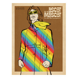 Anderson Design Group - The Mod Collection: Ascot Mascot Gallery Print - 1968 was the year of the Mod ascot. Fashion-forward Mod Men who sported the silk became known as Ascot Mascots, encouraging millions of men to ditch their traditional neck ties and dress like rock stars. Their legacy has never been appropriately honored until now. You, too can be an Ascot Mascot by decorating with this adventurous print! Original, hand-illustrated design from Anderson Design Group in Nashville, TN.