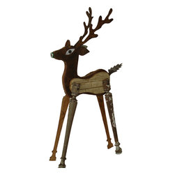 Large Garden Reindeer - I'm always happy when I see things made with salvaged materials. This deer is both unique and beautiful.