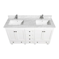 Wyndham Collection Acclaim 60-in. Double Bathroom Vanity Set - White - Rich in storage and style, the Wyndham Collection Acclaim 60-in. Double Bathroom Vanity Set - White is perfect for your family. This vanity set is made of eco-friendly, solid oak in a crisp white finish and includes two integral sinks in your choice of countertop material plus a matching framed mirror for each sink. Storage abounds in the two wood cupboard doors on either side, each with shelving behind, two wide drawers beneath the cupboards, and four central drawers just right for organizing the whole family. Counters are pre-drilled for single-hole faucets and faucets are not included.About the Wyndham CollectionWyndham and the Wyndham collection are all about refinement, detailing, uniqueness, quality, and longevity. They are dedicated to the quality of their products and own the factory where each piece is constructed. This allows Wyndham to offer products that reflect the rigorous quality standards required for every piece that is offered to their customers. The Wyndham collection showcases elegant, modern design styles that highlight functionality and style in every detail.