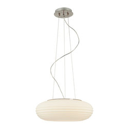 """Possini Euro Design - Possini Euro White 18 1/2"""" Wide Modern Pendant Chandelier - This light is a pretty and graceful example of modern design. The oval glass bowl is rippled with concentric rings. Adjustable hang height is pre-set at 36"""". This modern pendant chandelier glows with a warm light and is a great accent to your dining room entryway or bedroom. From the Possini Euro Design lighting collection. Takes three 40 watt bulbs (not included). 18 1/2"""" wide. 6 1/2"""" high. 10 feet overall adjustable hang height. 5 1/2"""" canopy. Weighs 9.24 pounds.  Glass pendant chandelier.  Rippled glass.  Metal canopy.  Takes three 40 watt bulbs (not included).   18 1/2"""" wide.   6 1/2"""" high.  10 feet overall adjustable hang height.  5 1/2"""" canopy.   Weighs 9.24 pounds."""