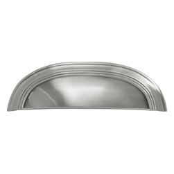 Hickory Hardware - American Diner Satin Nickel Cup Cabinet Pull - Often characterized with clean, sleek lines.  Marked with solid colors, predominantly muted neutrals or bold bunches of color.  An emphasis on basic shapes and forms.