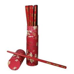 Oriental Furniture - 10 Pair Wood Chopsticks Set - Red - This set of ten pairs of red hardwood chopsticks is a perfect gift for anyone with a taste for far Eastern cuisine. Beautifully decorated, this set comes in a color-coordinated presentation cylinder.