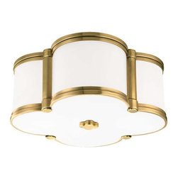 Hudson Valley Lighting - Hudson Valley Chandler I-2 Light Flush Mount in Aged Brass - Hudson Valley Lighting's Chandler's I-2 Light Flush Mount shown in Aged Brass. Our four-leaf clover ceiling fixture is a lucky find. From Mediterranean to modern, Chandler's inviting glow of ambient light is a welcome addition to any well-appointed space. Cast metal and custom opal glass give lasting life to this quatrefoil design.