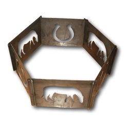 Schares Metal Works - 6 Pc Portable Horse Fire Ring - Powder coated with black paint designed to handle heat up to 1250 degrees.  All 6 pieces easily come together and apart.  Designed to stack and bolt together with an included chain for easy storage and portability.  Hang up in the garage while not in use or slip under the backseat of a vehicle.