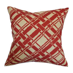 """The Pillow Collection - Rygge Bamboo Pillow Red 20"""" x 20"""" - Take inspiration from nature and blend this element into your home by decorating it with this bamboo throw pillow. This square pillow features a bamboo print pattern in shades of red and tan. This geometric pattern is set on a 100% soft cotton fabric. Place this accent pillow atop your bed, sofa or couch. Pair this with solids or other bamboo pillows from our collection. Hidden zipper closure for easy cover removal.  Knife edge finish on all four sides.  Reversible pillow with the same fabric on the back side.  Spot cleaning suggested."""