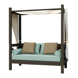 Forever Patio - Hampton Outdoor Canopy Day Lounger, Chocolate Wicker and Spa Cushions - Relax in total comfort with the generously-sized and chic Forever Patio Hampton Modern Outdoor Wicker Canopy Day Lounger with Turquoise Sunbrella cushions (SKU FP-HAM-CPL-CH-SP). The UV-protected, chocolate-colored wicker sports a flat woven design, creating a contemporary look with clean lines. Each strand of this outdoor wicker is made from High-Density Polyethylene (HDPE) and is infused with its rich color and UV-inhibitors that prevent cracking, chipping and fading ordinarily caused by sunlight. This outdoor day lounger is supported by thick-gauged, powder-coated aluminum frames that make it more durable than natural rattan.This lounger includes fade- and mildew-resistant Sunbrella cushions, throw pillows and bolster pillows for added comfort in your outdoor space.
