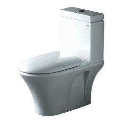 """Atlas International - Ariel """"Milano"""" Contemporary One Piece White Toilet with Dual Flush - Ariel cutting-edge designed one-piece toilets with powerful flushing system. It's a beautiful, modern toilet for your contemporary bathroom remodel."""