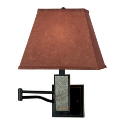 Kenroy - Kenroy 20382SL Dakota Wall Swing Arm Lamp - Rich colors and earthy tones soften the lines of slate and metal.  Dakota is rugged but elegant, bringing beautiful natural elements to the bedroom or den.