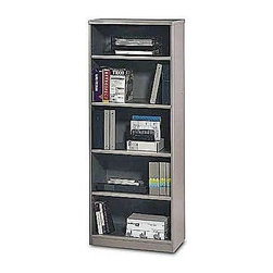 Bush Business - 5 Shelf Bookcase in Pewter - Series A - Enjoy extra organizational space with this versatile and sturdy pewter finish bookcase.  This durable and attractive bookcase comes with three adjustable shelves for flexibility and two fixed shelves for stability.  The back panel includes wire access and the 9 1/2 inch depth accommodates binders, forms, and equipment. * Two fixed shelves for stability . Three adjustable shelves for flexibility . Height matches Series A Hutches . Back panel includes wire access . 19 1/2 in. depth accommodates binders, business forms and equipment. 25.5 in. W x 19.5 in. D x 66.260 in. H