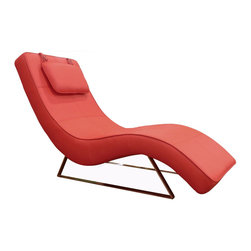 White Line Imports - Soho Chaise in Red Leatherette - Stylishly crafted, and covered in luxurious red leatherette, the Soho Chaise features modern wave design and sleek chrome legs. Also available in Black, Chocolate and White leatherette.