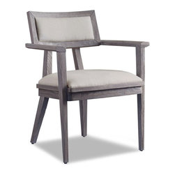 Brownstone Furniture Palmer Arm Chair - The Palmer collection is a unique assortment of richly grained teak with a sandblasted, driftwood gray finish. Each piece of the collection is carefully designed with updated silhouettes that embody subtle refinement. The Palmer chair is upholstered in 100% linen.