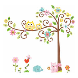 York Wallcoverings - Scroll Tree Owls Wall Accent Sticker Set - Features: