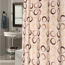 Other Brands - Carnation Home Fashions Ez On Grommet Circles Beige Fabric Shower Curtain Multic - Shop for Shower Curtains from Hayneedle.com! Contemporary circles in tones of brown the Carnation Home Fashions Ez On Grommet Circles Beige Fabric Shower Curtain is convenient and stylish. A smart shower curtain this one is made of water-repellent polyester material eliminating the need for a shower curtain liner. Its built-in PVC hooks make it a breeze to install.About Carnation Home FashionsYour home your style Carnation Home Fashions believes in this motto. That s why this home fashions company offers a wide range of on-trend and classic products designed for style and convenience. Perfect for matching today s busy lifestyles their bath products meet your needs in style. Carnation Home Fashions is based in Newburgh New York.