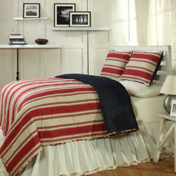 Cottage Home - Canon Red 3-piece Quilt Set - Constructed of cotton, this striped quilt features solid and patterned stripes in red and ivory. The cozy cottage feel denim set is reversible for further options and completely washable.