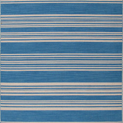 Jaipur Rugs - Flat Weave Stripe Pattern Blue Wool Handmade Rug - PV01, 9x12 - Bold color is the name of the game with Pura Vida. This beautiful collection of durable, reversible flat-woven dhurries combines the classic simplicity of linear patterns with a decidedly modern palette for a look that's at once casual and sophisticated.
