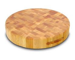 "Catskill Craftsmen - Catskill 17"" Round Slab Reversible Chopping Block - Finger Slots - Round, sturdy, end grain style chopping block features finger slots for easy handling. Reversible so you can chop on both sides. 3 inches thick. Model 13177."