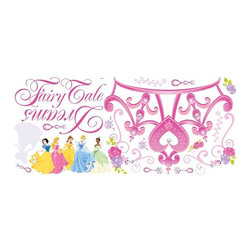 RoomMates Peel & Stick - Princess Crown Giant Wall Decal - Every little princess needs a crown and these wall decals will give you exactly that! Bring the beauty and elegance of Disney princess into your little girl's room with these removable stickers, including a giant crown, flowers, and your favorite princess characters. A perfect compliment to our beautiful Disney princess wallpaper, castle, carriage and giant Princess wall decals!