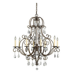 Murray Feiss - Murray Feiss Chateau Traditional Chandelier X-ZBM8/3032F - With intimate curls at the end of the curving arms, the framing of the Murray Feiss Chateau Traditional chandelier displays refined elegance to the room. The dark mocha bronze finish provides an extra touch of gorgeousness to the design. The crystal droplet ornaments create dazzling reflections to provide fascinating appeal.