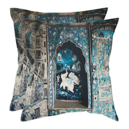 Safavieh - Adari 18-inch Turquoise/ Grey Decorative Pillows (Set of 2) - The palaces of India are recalled in Adari, with trompe loeil arched window and view of elephants beyond.