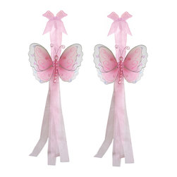 "Bugs-n-Blooms - Butterfly Tie Backs Pink Multi-Layered Butterflies Tieback Pair Set Decorations - Window Curtains Holder Holders Tie Backs to Decorate for a Baby Nursery Bedroom, Girls Room Wall Decor - 5""W x 4""H Pink & White Multi-Layered Curtain Tieback Set Butterfly 2pc Pair - Beautiful window curtains tie backs for kids room decor, baby decoration, childrens decorations. Ideal for Baby Nursery Kids Bedroom Girls Room.  This gorgeous 3D butterfly tieback set is embellished with sequins, glitter and has a beaded body. This pretty butterfly decoration is made with a soft bendable wire frame & have color match trails of organza ribbons. Has 2 thick color matched organza ribbons to wrap around the curtains.  Visit our store for more great items. Additional styles are available in various colors, please see store for details. Please visit our store on 'How To Hang' for tips and suggestions. Please note: Sizes are approximate and are handmade and variances may occur. Price is for one pair (2 piece)"