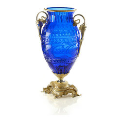 Baldi Home Jewels - BALDI Home Jewels  London Vase in 24% Lead Blue Royal Crystal - London vase in 24% Lead Blue Royal Crystal Satin Anna cut with decape finish (24k Gold mixed with Silver over Bronze )