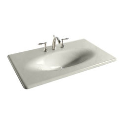 "KOHLER - KOHLER K-3051-8-95 Iron/ Impressions 37"" Cast Iron One-Piece Surface and Integra - KOHLER K-3051-8-95 Iron/ Impressions 37"" Cast Iron One-Piece Surface and Integrated Lavatory with 8"" Centers in Ice Grey"