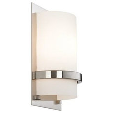 """Brushed Nickel With Etched Opal 10"""" High Wall Sconce - Euro Style Lighting"""